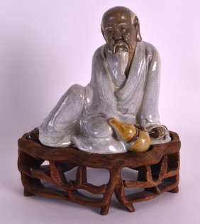 An Early 20th Century Chinese Enamelled Pottery Scholar