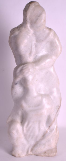 A 1950s Carved White Marble Figure Of A Mother And