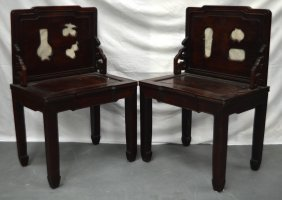 A Pair Of 19th Century Chinese Carved Hardwood Chairs