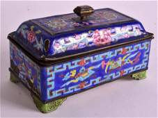 A CHINESE QING DYNASTY CANTON ENAMEL BOX AND COVER