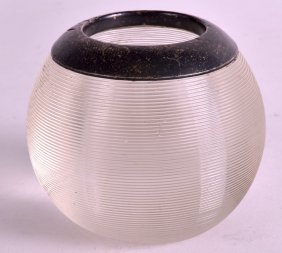 An Art Deco Silver And Ribbed Glass Inkwell Of Circular