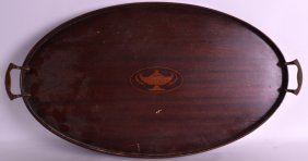 An Edwardian Twin Handled Mahogany Tray Inset With An