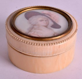 A Late 19th Century Carved Ivory Portrait Miniature Box