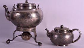 A 19th Century Japanese Meiji Period White Metal Teapot