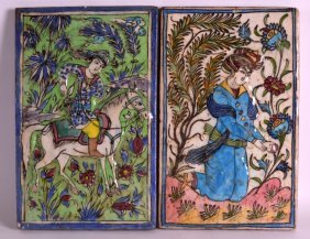A Pair Of Early 20th Century Persian Pottery Panels