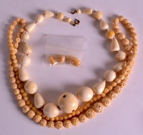 An Early 20th Century African Carved Ivory Necklace Of
