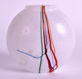 A Stylish Art Glass Vase Enamelled With Dripping