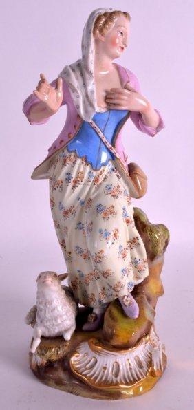 A Mid 19th Century Meissen Porcelain Figure Of A Female