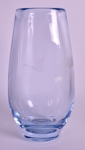 A Vintage Scandanavian Clear Glass Vase Etched With