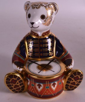 A Royal Crown Derby Boxed Drummer Bear Paper Weight.