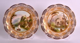 A Lovely Pair Of Coalport Pierced Cabinet Plates