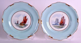 A Pair Of Royal Crown Derby Porcelain Plates Painted
