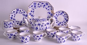 A Spode 'colonel' Blue And White Coffee Service. (qty)