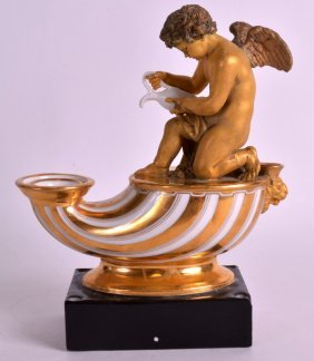 A Lovely 19th Century Paris Porcelain Inkwell Depicting