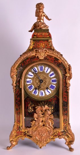 A Late 19th Century French Boulle Mantel Clock With