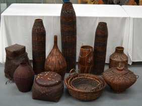 A Large Collection Of Polynesian Wicker Work Including