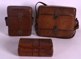 Three Victorian Leather Cartridge Cases. (3)