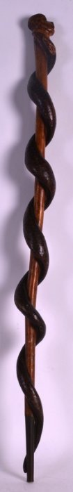 An Unusual Late Victorian/edwardian Carved Wood Walking