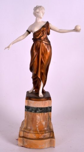 An Early 20th Century French Art Nouveau Cold Painted