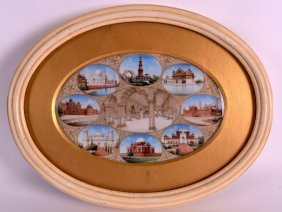A Good 19th Century Indian Painted And Framed Ivory