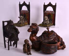 A Pair Of Austrian Cold Painted Bronze Bookends