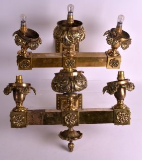 A Large Pair Of Early 20th Century Brass Wall Fittings