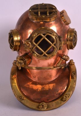 An Early 20th Century Copper And Brass Divers Helmet Of