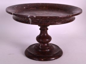A 19th Century Italian Rouge Marble Tazza With Pedestal