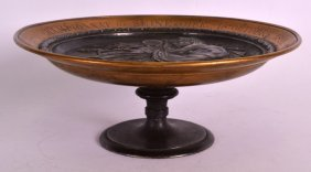 A 19th Century Bronze Pedestal Tazza Decorated In