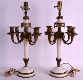 A Pair Of 19th Century French White Marble And Bronze