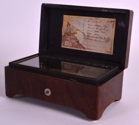 A Small Mid 19th Century Walnut Music Box Playing Six