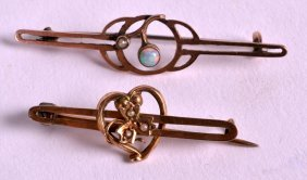 An Edwardian 9ct Gold And Opal Ladird Brooch Together