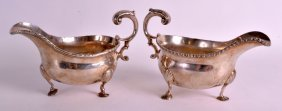 A Large Pair Of George Iii Silver Sauceboats With