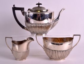 An Early 20th Century English Silver Three Piece Teaset