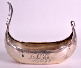 An Early 20th Century Continental Silver Viking Boat