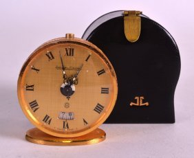 A Good Small Jaeger Le Coultre Cased Travelling Clock