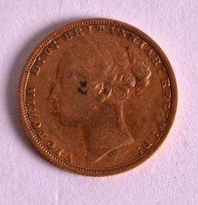 An 1877 Full Gold Sovereign.