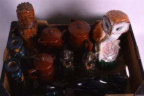 An Italian Pottery Model Of An Owl Together With
