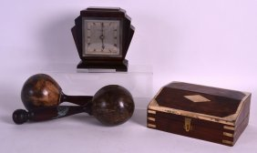 A Stylish Art Deco Carved Wood Mantel Clock Together