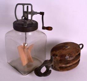 A Vintage Kitchen Glass Jar Together With A Carved