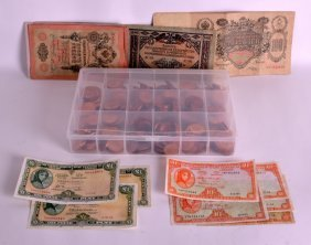 Various Bank Notes, Coins, Shillings Etc. (qty)
