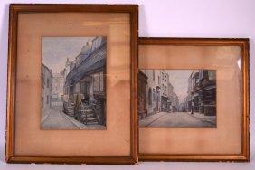English School (c1900) Watercolour, 'town Scenes',