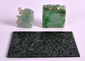 A Late 19th Century Chinese Carved Jadeite Rectangular