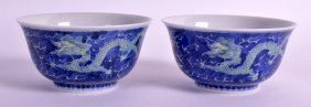 A Lovely Pair Of Chinese Porcelain Blue Glazed Bowls