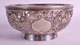 A Good Late 19th Century Chinese Export Silver Bowl Of