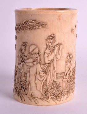 A Fine 19th Century Chinese Carved Ivory Brush Pot By