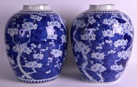 A Very Large Matched Pair Of 19th Century Blue And