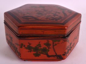 A 19th Century Chinese Red Lacquer Box And Cover Of