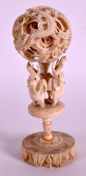 A Late 19th Century Chinese Carved Ivory Puzzle Ball On