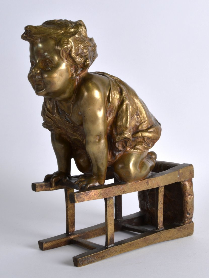Juan Clara (C1900) Spanish, A bronze study of a toddler